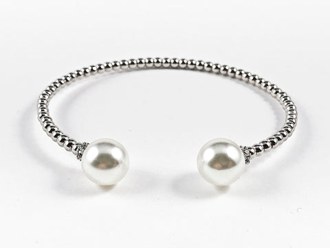 Beautiful Bead Texture Band With Duo Pearl Ends Brass Cuff Bangle