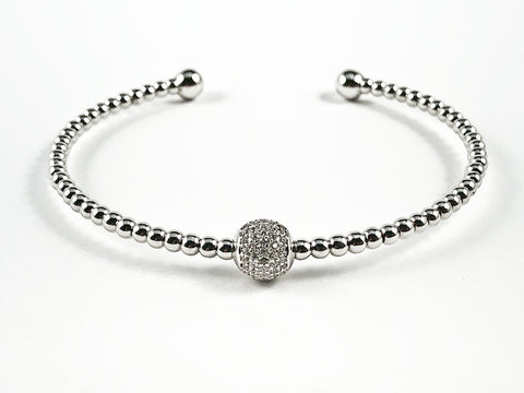 Beautiful Bead Texture Band With Center Pave CZ Ball Charm Brass Cuff Bangle.