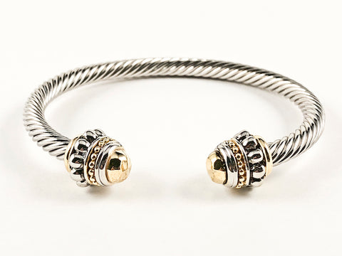 Modern Thick Wire Band With Duo Gold Tone End Caps & Crown Brass Cuff Bangle