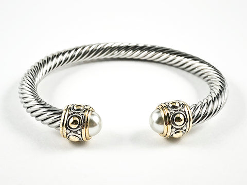 Modern Thick Wire Band With Duo Pearl Ends & Antique Style Crown Frames Two Tone Brass Bangle