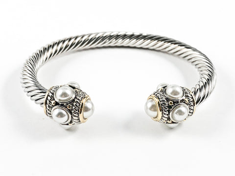 Modern Thick Wire Band With Unique Multi Pearl Frame Duo Ends Brass Cuff Bangle
