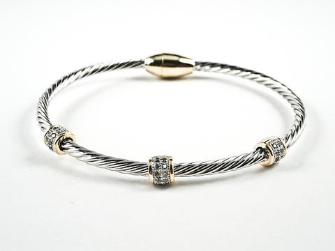 Modern Wire Band With Triple Pave Cylinder Posts Two Tone Magnetic Clasp Brass Bracelet