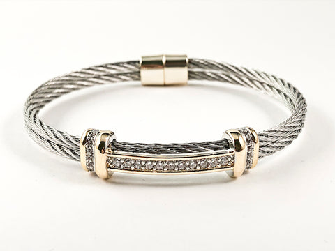 Modern Double Row Wire Band Center CZ Bar Two Tone Magnetic Brass Bracelet Bangle