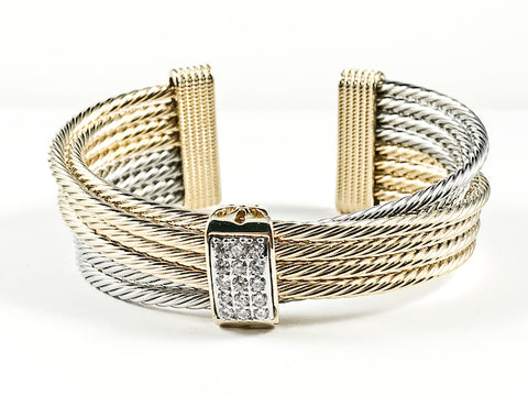 Beautiful Modern Multi Layered Cable Wire Texture Cross Over Design Two Tone Cuff Brass Bangle