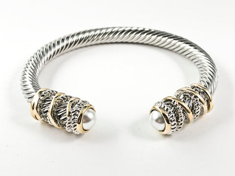 Beautiful Modern Cable Wire Texture With Gold Tone Spiral Frame Duo Pearl Ends Brass Bangle