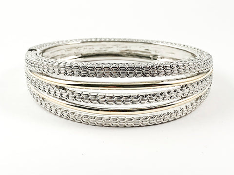 Modern Multi Row Thick Weave Texture Two Tone Design Magnetic Brass Bracelet Bangle