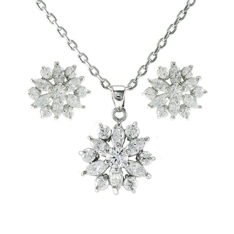 Classic Fine Elegant Stardust Snowflake Design Brass Earring Necklace Set