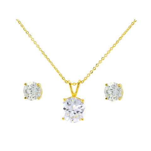 Classic Round Stone Single Stone Setting Yellow Gold Tone Brass Earring Necklace Set