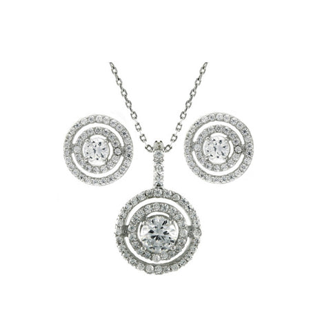 Classic Elegant Round Circular Pattern Earring Necklace Brass Set