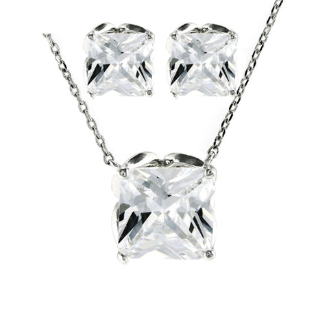 Classic Square Single Stone Fine Setting Earring Necklace Brass Set