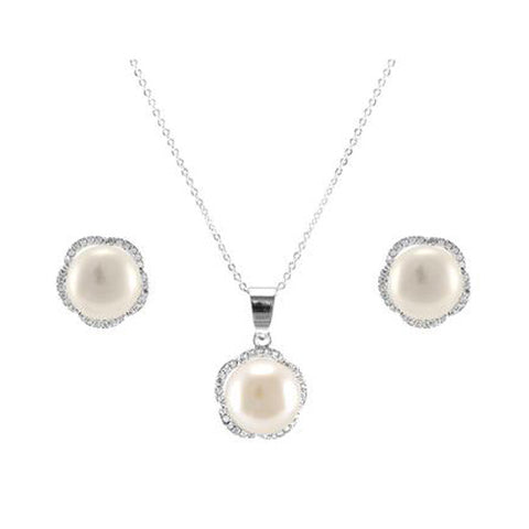Classic Cute Center Pearl Rounded Star Design Brass Earring Necklace Set