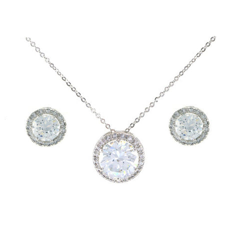 Classic Elegant Round Shape Center CZ Earring Necklace Brass Set