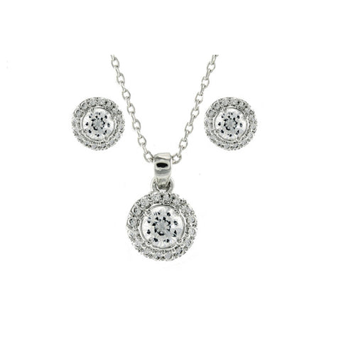 Classic Elegant Fine Round Shape CZ Earring Necklace Set