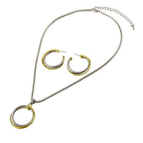 Modern Cable Wire Textured Circle Link Design Earring Necklace Brass Set