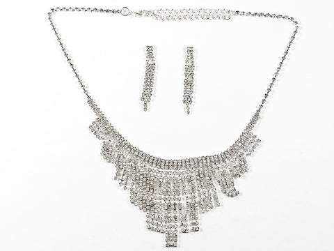 Stylish Chandelier Crystal Statement Earring Necklace Fashion Set