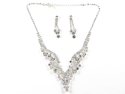 Stylish Multi Layered Crystal Statement Earring Necklace Fashion Set