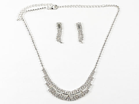 Stylish Layered Crystal Statement Earring Necklace Fashion Set