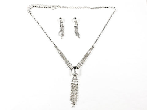 Stylish Thin Crystal Statement Earring Necklace Fashion Set