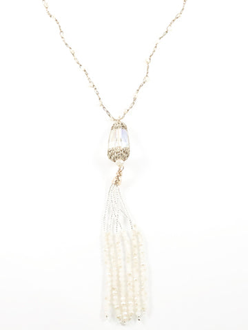 Beautiful Vintage Long Tassel With Micro Pearls Crystal Earring Necklace Fashion Set