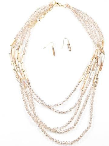 Unique Stylish Multi Strand Crystal Brown Topaz Color Earring Necklace Brass Set