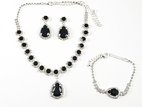Fancy Elegant Pear Shape Dangle Design Black Color Crystal Fashion Earring Bracelet Necklace Set