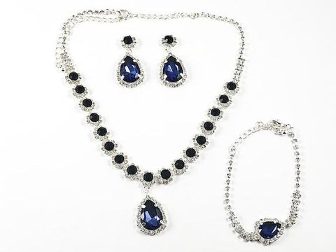 Fancy Elegant Pear Shape Dangle Design Sapphire Color Crystal Fashion Earring Bracelet Necklace Set