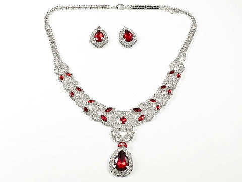 Fancy Pear Shape Dangle Ruby Color Crystal Thick Multi Row Micro Crystal Style Design Fashion Earring Necklace Set