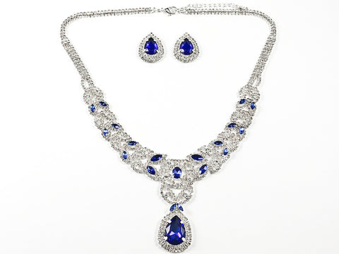 Fancy Pear Shape Dangle Blue Color Crystal Thick Multi Row Micro Crystal Style Design Fashion Earring Necklace Set