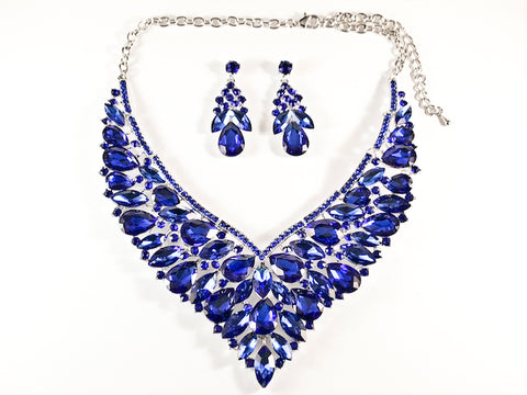 Beautiful Fancy Big Full Floral Design Blue Color Crystals Earring Necklace Fashion Set