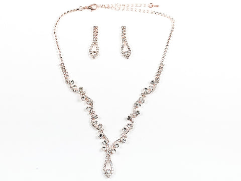 Classic Beautiful CZ Design Pink Gold Tone Earring Necklace Fashion Set