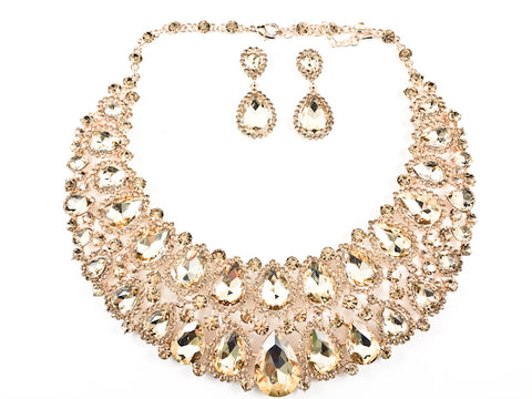 Fancy Layered Light Brown Color Crystals Pear Shape Design Style Pattern Earring Necklace Set