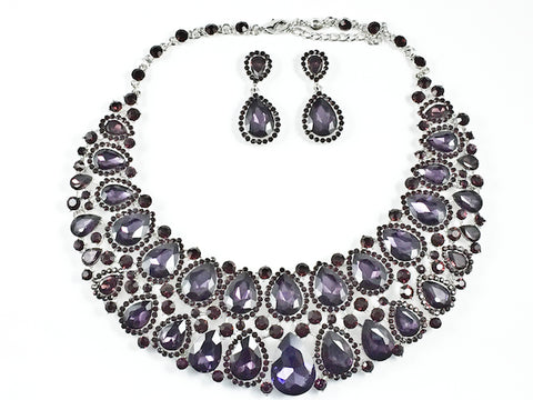 Fancy Layered Purple Color Crystals Pear Shape Design Style Pattern Earring Necklace Set