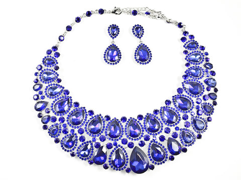 Fancy Layered Blue Color Crystals Pear Shape Design Style Pattern Earring Necklace Set