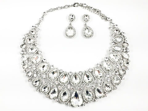 Fancy Layered Crystals Pear Shape Design Style Pattern Earring Necklace Set