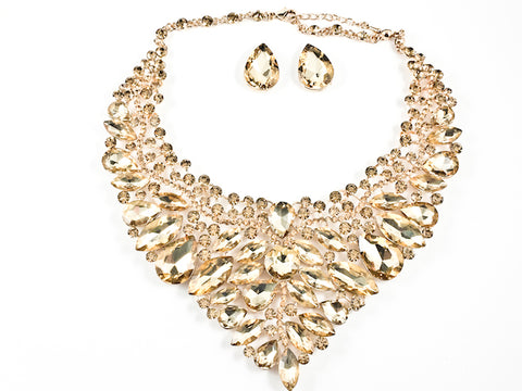 Stylish Detailed Mix Stones & Shape Sharp Floral Pattern Light Brown Color Crystals Earring Necklace Fashion Set