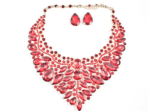 Stylish Detailed Mix Stones & Shape Sharp Floral Pattern Red Color Crystals Earring Necklace Fashion Set
