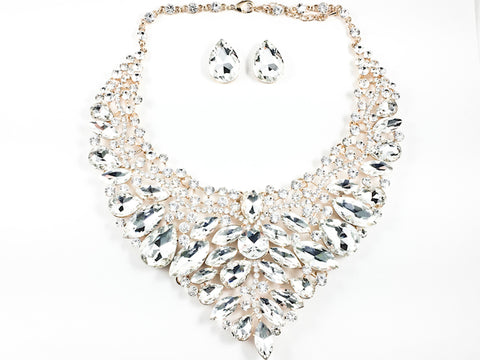 Stylish Detailed Mix Stones & Shape Sharp Floral Pattern Clear Crystals Earring Necklace Fashion Set