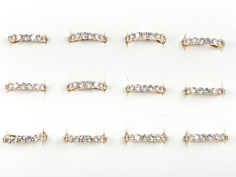Classic 12 Pieces Set Round Cut Eternity CZ Band Gold Tone Brass Ring