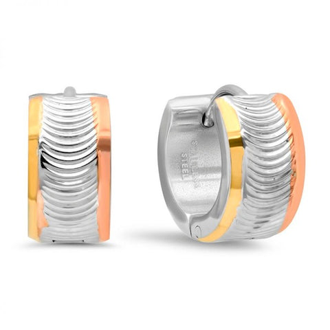 Modern Tri-Color Wavy Design Huggie Steel Earrings