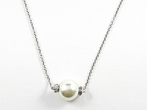 Classic Single Full Pearl With CZ Brass Necklace
