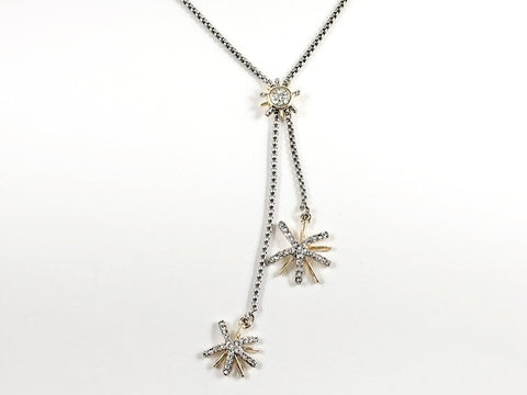 Modern Lariat Style 2 Tone Double Stardust CZ Long Brass Necklace
