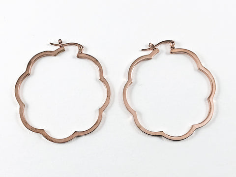 Unique Cute Large Floral Frame Pink Gold Tone Steel Hoop Earrings