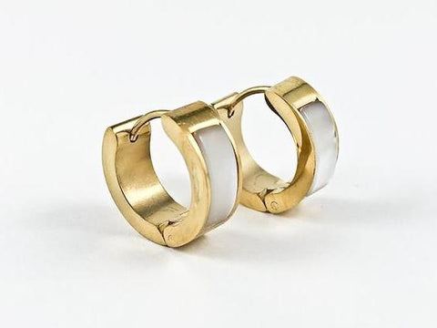 Nice Dainty Mother Of Pearl Yellow Gold Tone Huggie Steel Earrings