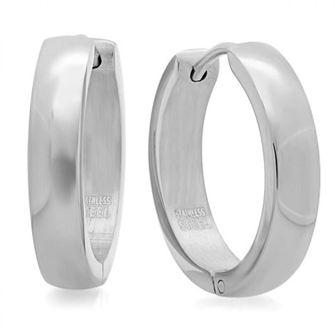 Modern Classic Thin High Polished Huggie Steel Earrings