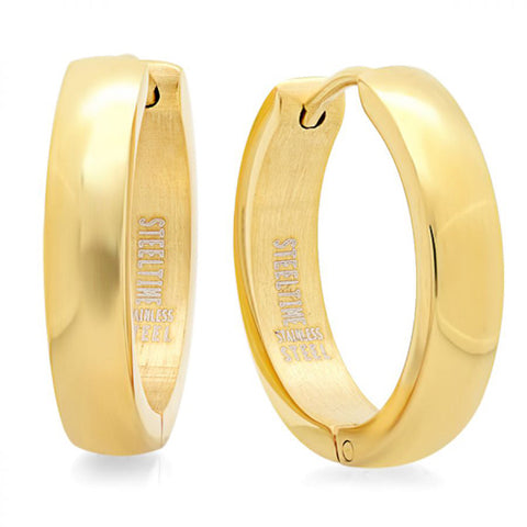 Modern Classic Thin High Polished Yellow Gold Huggie Steel Earrings