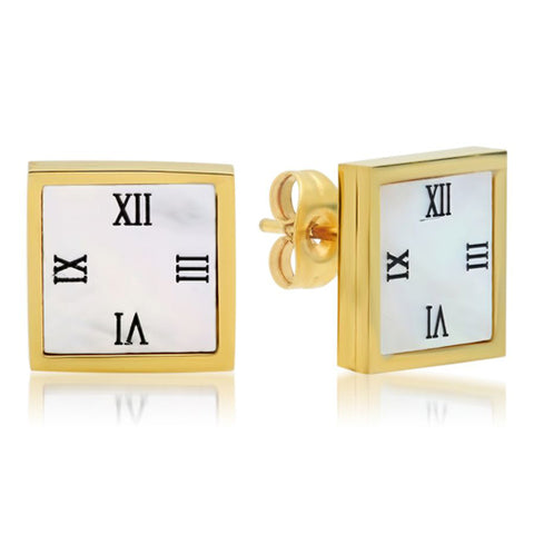 Modern Square Roman Numeral Classic Design Stud Steel Earrings