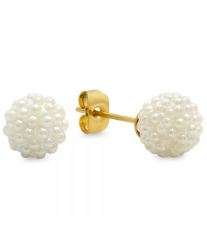 Modern Simple Simulated Pearl Yellow Gold Stud Steel Earrings