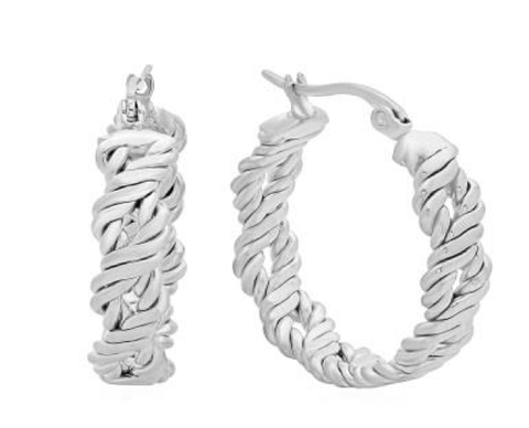 Modern Unique Twisted Textured Hoop Steel Earrings