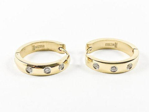 Modern Thin Three Crystal Design Gold Tone Huggie Steel Earrings