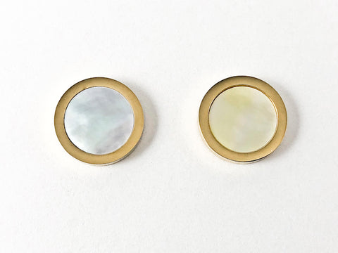 Elegant Round Shape Mother Of Pearl Center Gold Tone Disc Steel Earrings
